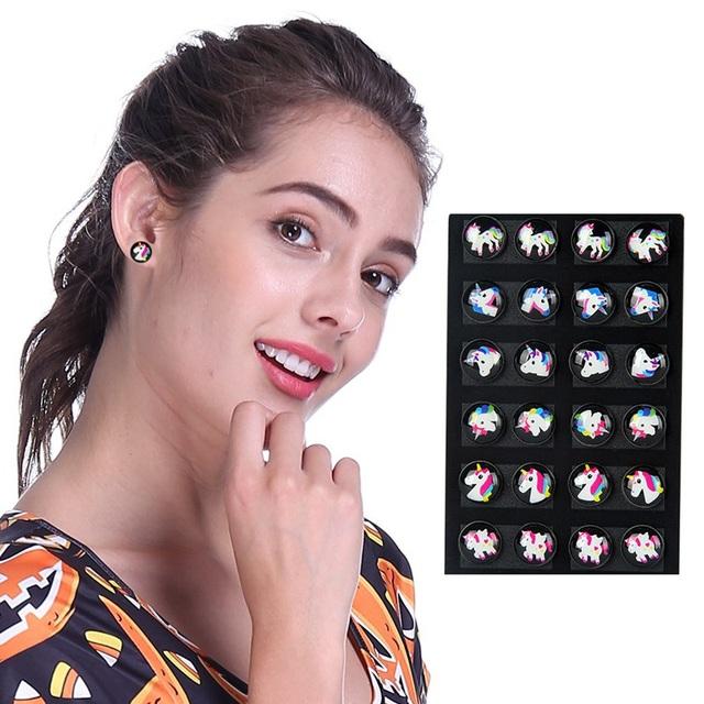 Kawaii Unicorn Patterned Earrings 12 pcs Set