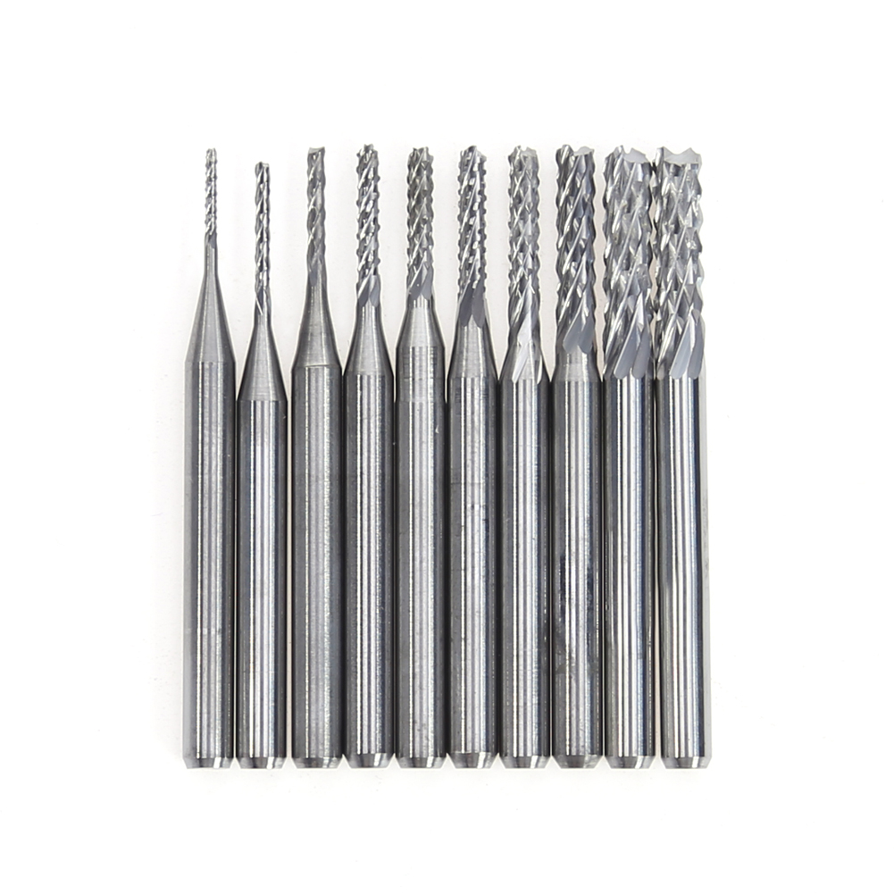 10Pcs/Box 1/8 Inch 0.8-3.17mm PCB Engraving Cutter Rotary CNC End Mill 0.8,1.0,1.2,1.4,1.6,1.8,2.0,2.2,2.4,3.17mm 10pcs box 1 8 inch 0 8 3 17mm pcb engraving cutter rotary cnc end mill 0 8 1 0 1 2 1 4 1 6 1 8 2 0 2 2 2 4 3 17mm