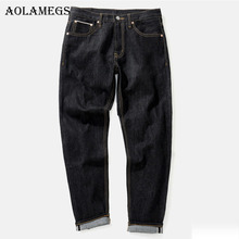Aolamegs Men Fashion Jeans Pants Men's Selvage denim Jeans Trousers Male Brand Straight Pure Cotton Boys Denim Trousers Bottoms