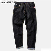 Aolamegs Men Fashion Jeans Pants Men's Selvage denim Jeans Trousers Male Brand Straight Pure Cotton Boys Denim Trousers Bottoms