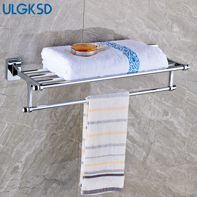 Ulgksd Luxury Solid Brass Towel Hanger Bath Towel Rack Wall Mounted Towel Holders  Bathroom Accessories Set xogolo antique solid brass wall mounted bath towel rack wholesale and retail towel shelf double layer towel hanger accessories