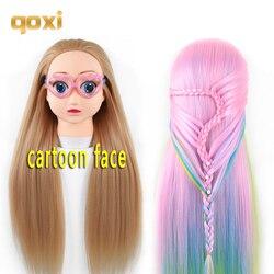 Qoxi cabezas de entrenamiento de dibujos animados profesionales con pelos largos gruesos práctica de peluquería maniquí muñecas estilo maniquí para la venta