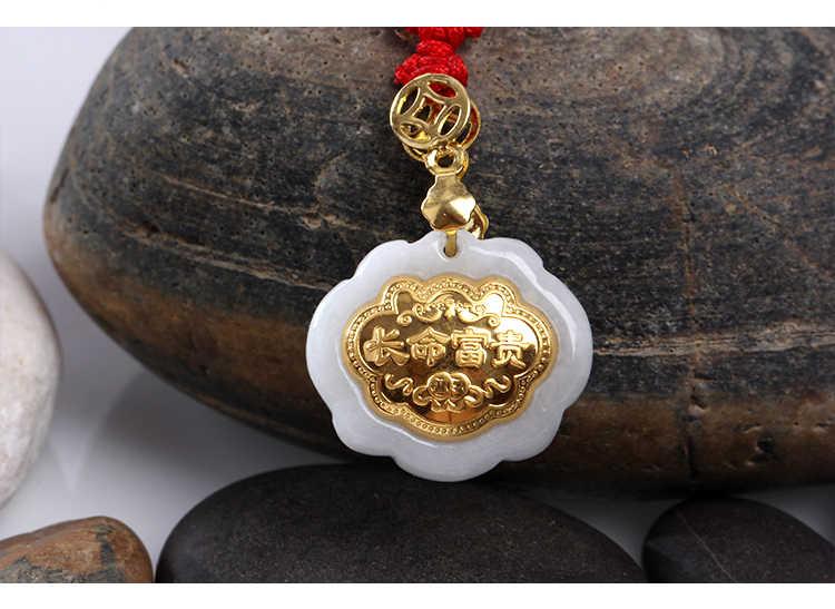 Mianmar natural antigo pit glutinous semente ouro incrustado jade changgling longevidade e jade jadeite pingente de mosaico de ouro