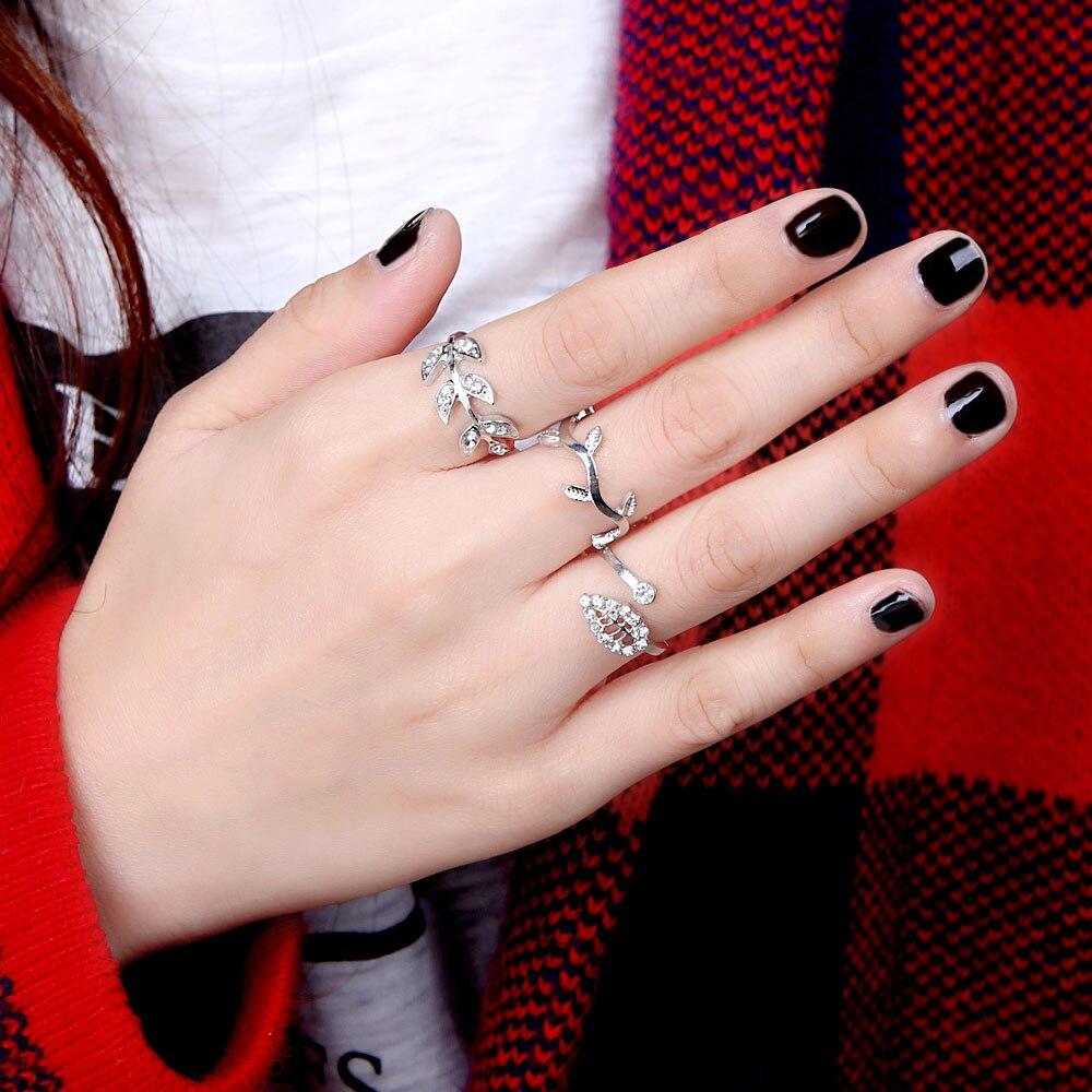 Top sell gold ring 3pcs/set Lady Girl Pretty Crystal Rhinestone Leaf ...