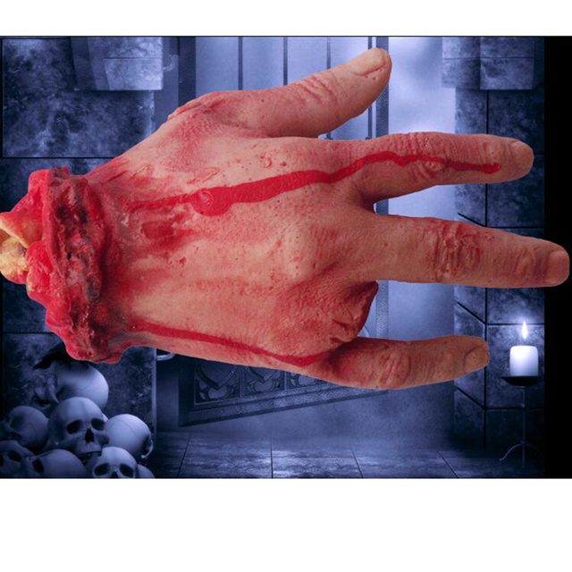 halloween 4 fingers horror props bloody hand haunted house party decoration scary hand tool carnival supply - Scary Props