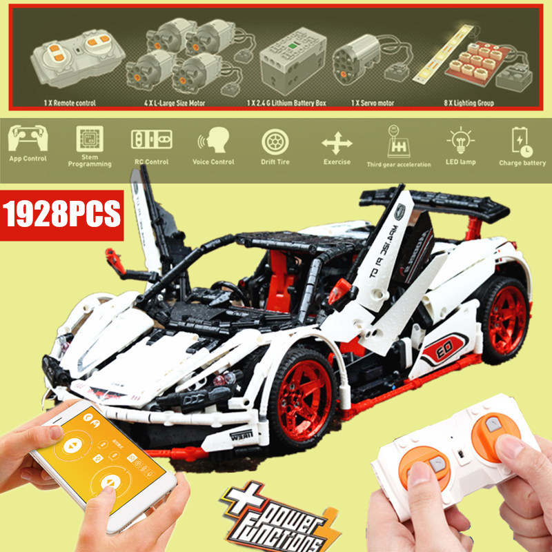 New MOC APP RC Control Racing Car ICARUS fit technic city Motor Power Up Function Building