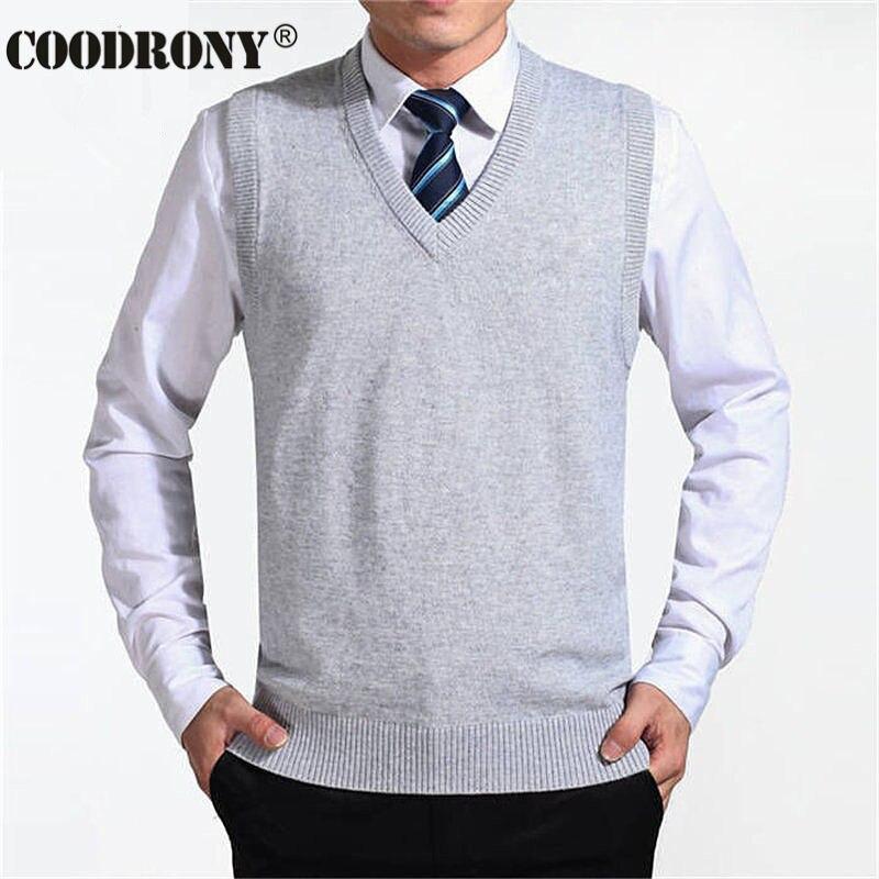 COODRONY Новое поступление Однотонный свитер жилет мужской кашемировый свитер шерстяной пуловер для мужчин бренд с v-образным вырезом без рукавов Джерси Hombre - Цвет: Серебристый