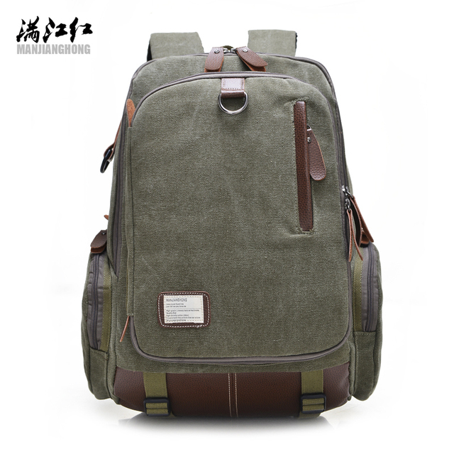 BUY AO fashion canvas men's daily backpacks for laptop large capacity computer bag casual youth student school bag rucksacks