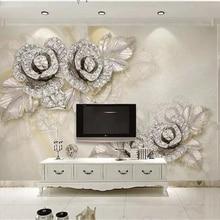 beibehang Custom wallpaper murals living room bedroom silver diamond rose silk s