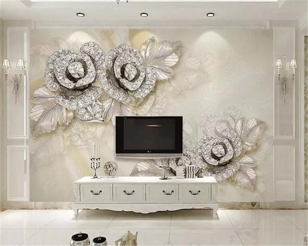 Beibehang Custom Wallpaper Murals Living Room Bedroom Silver Diamond Rose Silk Satin 3d Jewelry Wall Paper Home Decoration