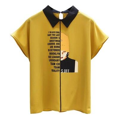 Tailles régulières femmes Blouses et hauts coréen en mousseline de soie lettre chemises dames manches courtes hauts pour les femmes d'été vêtements pour femmes