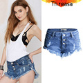 2016 Summer Womens Denim Shorts Buttonfly Black White Blue Distressed Jeans Ripped Destroyed Raw Edge Hots Shorts SL044