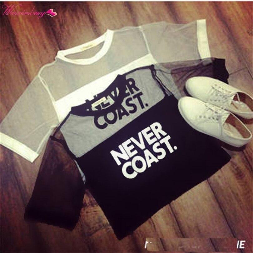 WEIXINBUY Sexy dámské dívky Loose Crop Top T-Shirt Crew Neck Procházet Gauze Tops Street Style O-Neck Letter Krátké tričko Y3