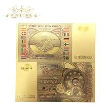 10 Pçs/lote Colorido Nota de Banco Europeia 1 Milhões de Notas de Euro em 24 K Folha de Ouro Dinheiro Falso Para Presentes