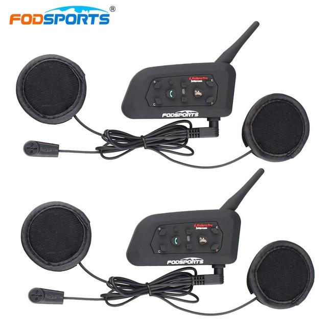 Fodsports V6 Moto kask interkom kulaklıklar Max 1200M motosiklet kablosuz Bluetooth interkom Intercomunication