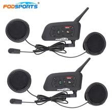 Fodsports oreillette Bluetooth V6 pour Moto, appareil de communication pour casque, portée Max, kit mains libres portée 1200M, Interphone sans fil
