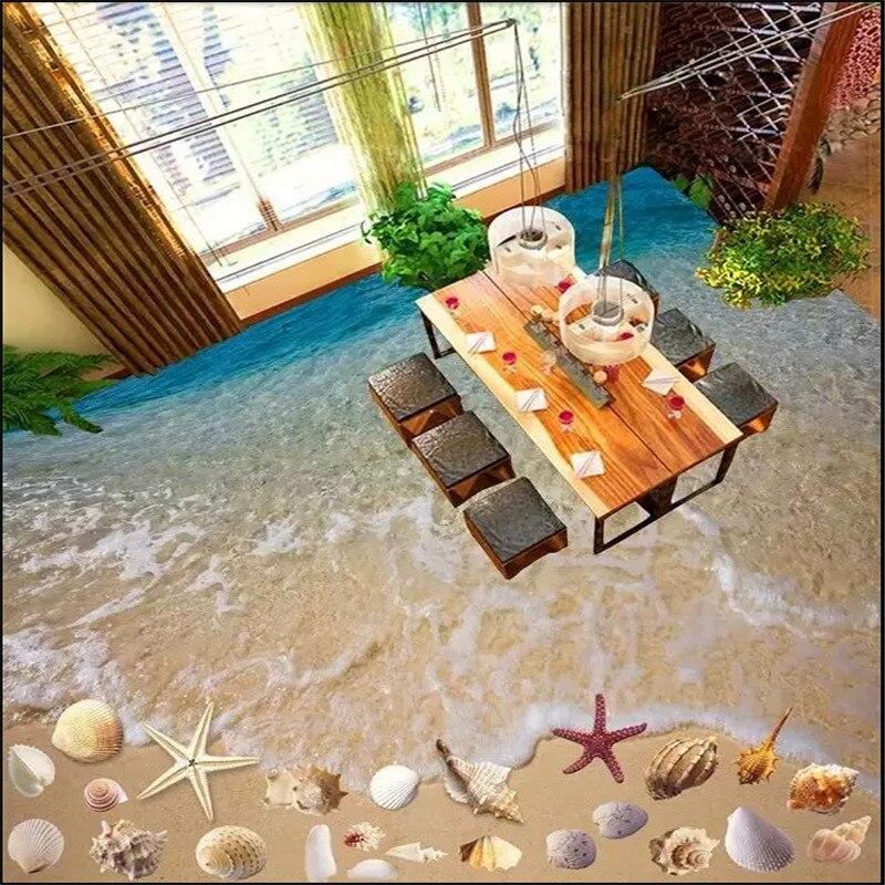 beibehang Custom 3D photo floor PVC adhesive wear non-slip waterproof thickened self-adhesive Wallpaper Murals shell beach beibehang custom photo self adhesive 3d