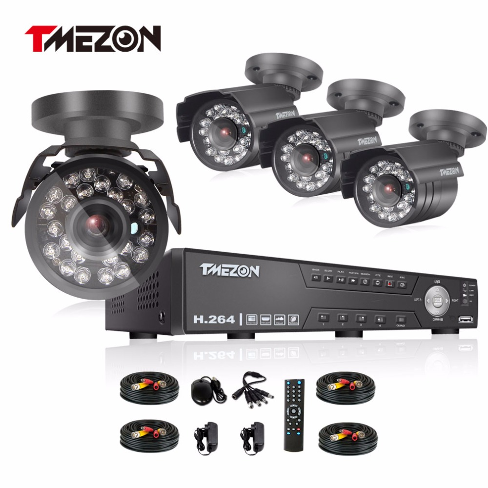 Tmezon 4CH AHD DVR 4pcs 2.0MP 1080P Camera Security Surveillance CCTV System Outdoor Waterproof IR Night Vision 1TB 2TB HD Kit tmezon 16ch ahd dvr 16pcs 2 0mp 1080p camera security surveillance cctv system outdoor waterproof ir night vision 1tb 2tb hd kit