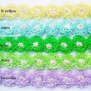 Image 2 - 120 개/몫, 여자를위한 진주와 초라한 쉬폰 꽃 헤어 액세서리 머리띠 액세서리