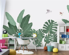 beibehang Nordic hand-painted small fresh medieval tropical plants flowers and birds background papel de parede 3d wallpaper