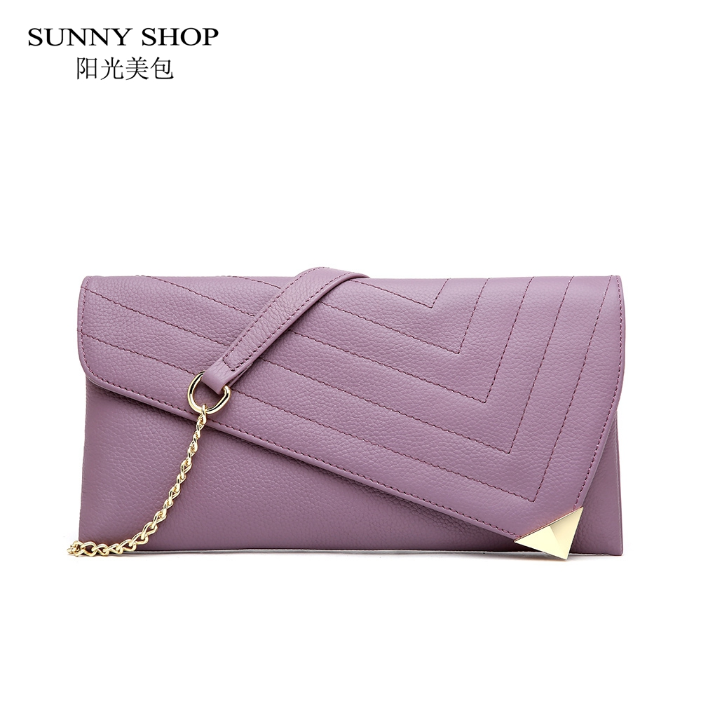 SUNNY SHOP Luxury 100% Genuine Leather Clutch Bag Women Chain Shoulder Bag Fashion Crossbody Bag original leather Summer 2018 недорго, оригинальная цена