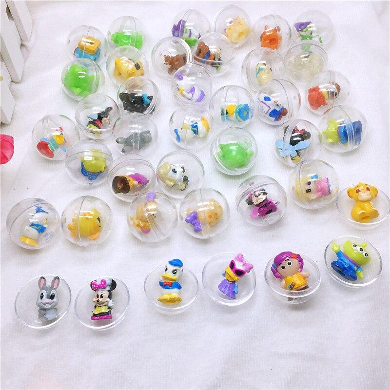 30 pz/pacco 28mm di diametro sfera di plastica trasparente capsule giocattolo con al suo interno diverse figure toy per distributore automatico di come i bambini regalo