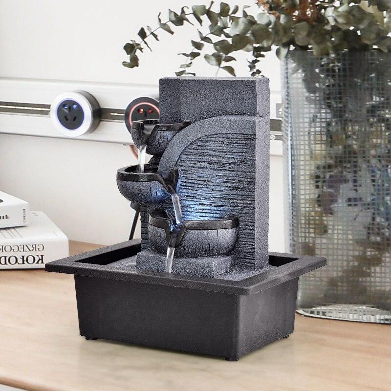 Fontaines décoratives en résine fontaines d'eau d'intérieur artisanat créatif bureau décor à la maison Figurines FengShui fontaine d'eau G