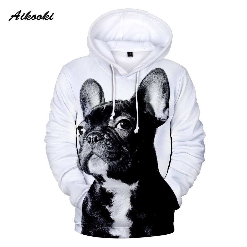 Aikooki Französisch Bulldog Hoodies Mens Fashion Casual Winter Hoodie 3d Volle Druck Nette Hund Marke Design Damen Sweatshirts Hoody