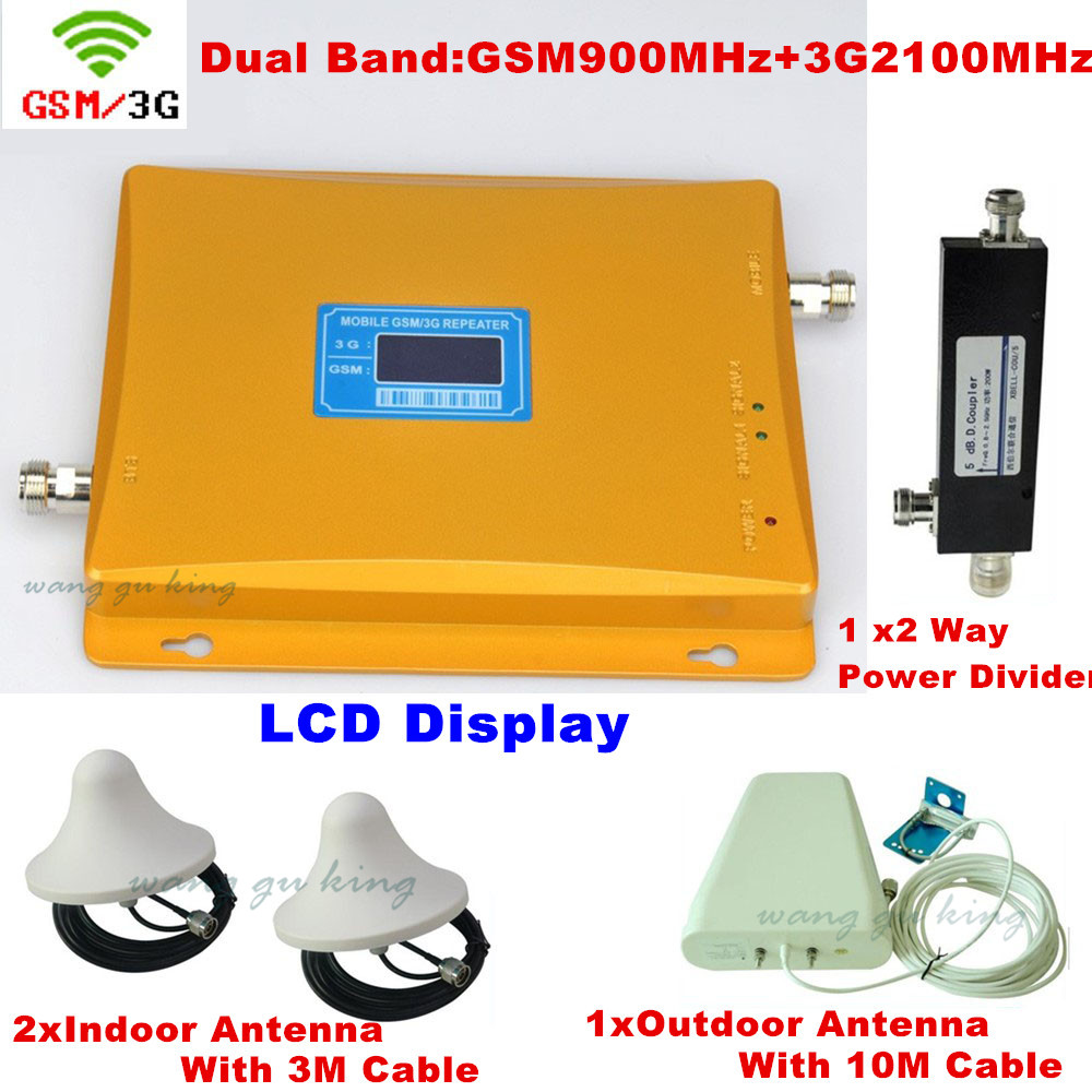 LCD Display Dual Band GSM 900MHz + 3G W-CDMA 2100mhz Cell Phone Signal Booster / Repeater / Amplifier + 2 Sets Indoor Antenna