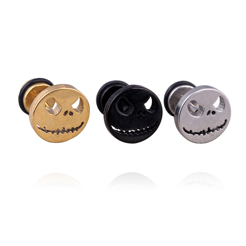 QCOOLJLY Gold Silver Black Color Cute Stud Earrings Funny pumpkin Ghost Nightmare Face Women Men Earring Jewelry Wholesale