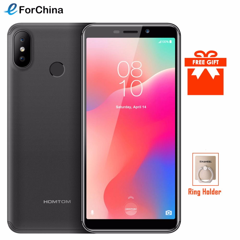 HOMTOM C1 5.518:9 Full Display Mobile Phone Android GO MT6580 Quad Core 1GB+16GB Smartphone 13MP Dual Cameras Fingerprint ID