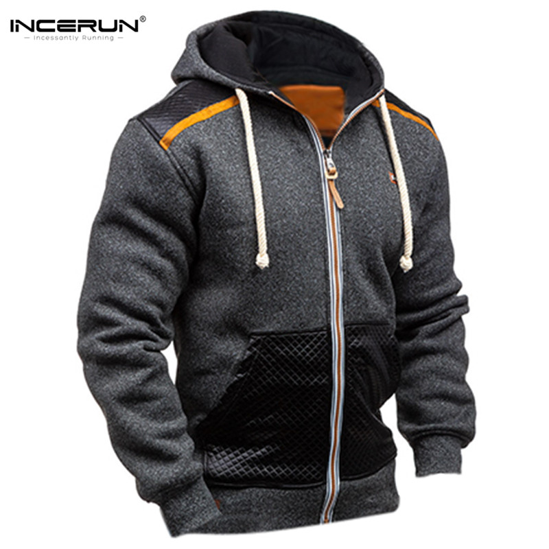 INCERUN Winter Autumn Mens Zipper Hoodie Jackets Pullover Warm Leather Stitching Men Hooded Sweatshirts Coat Joggers Workouts