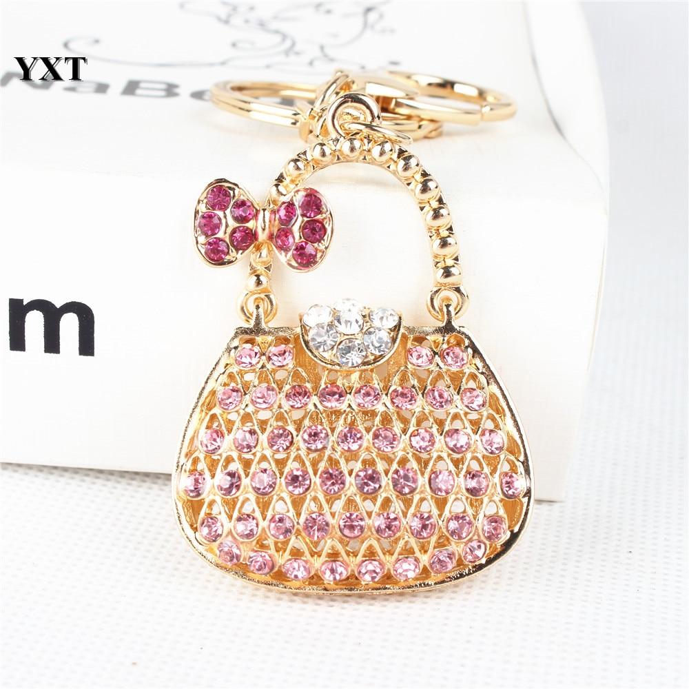 New Fashion Women Handbag Butterfly Bow Crystal Charm Pendant Purse Key Ring Chain Creative Birthday Christmas Gift
