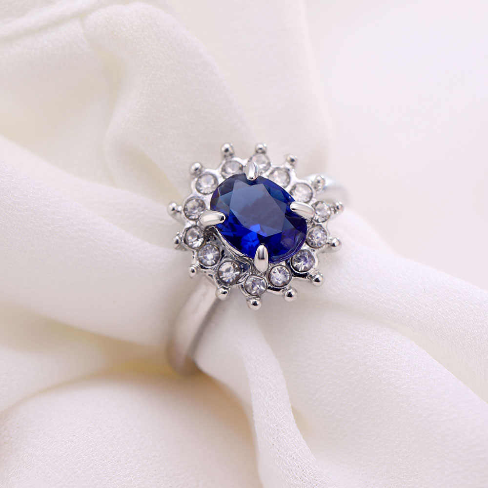 TOMTOSH Princess Diana William Kate Middleton's 3.2ct Created Blue Ring Charms Engagement 925 Rings For Women Jewelry