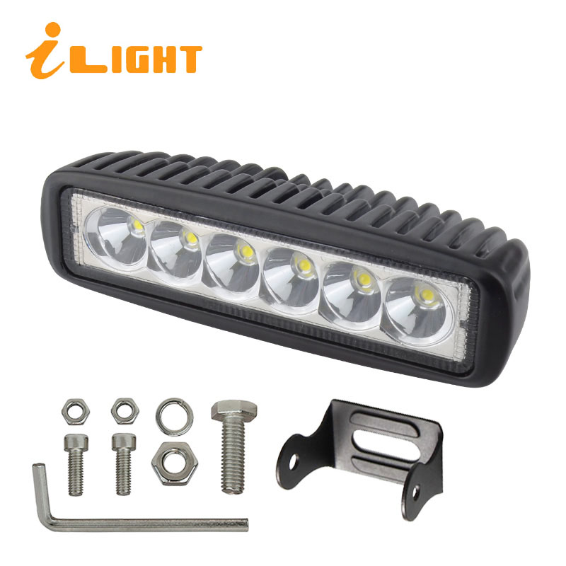 1PC LED Bar 18W Lighting Bar Beam Led Working Lights Offroad Lamp SUV ATV Auto Barra 4X4 Road 6500K Motor Foglight iLight