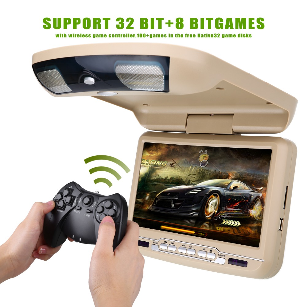 9 inch Roof Mount Car DVD Player with USB SD MP5 IR FM Transmitter,Wireless games zeepin 13 3 inch car multimedia roof mount player 1080p 120 degree rotating screen ir fm remote control wireless games auto dvd