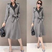 Spring/winter Trench Coats For Women Turn Down Collar Trench Coat Slim OL Suede Trench Coat Plus Size Overcoat Women Windbreaker