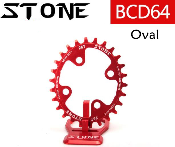 Stone Oval 64BCD 22T 24T 26T 28T Narrow Wide MTB Cycling Chainring Bike Crown 7075 CNC