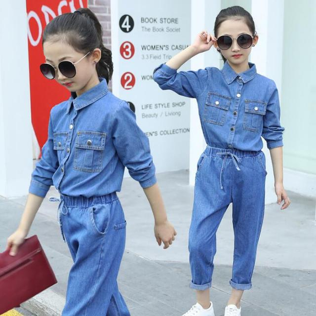 Children Clothing set 2019 Spring Girls Clothes Jeans Shirts + Denim  Pants Outfits For Girls ensemble fille 6 8 10 12 14 Years