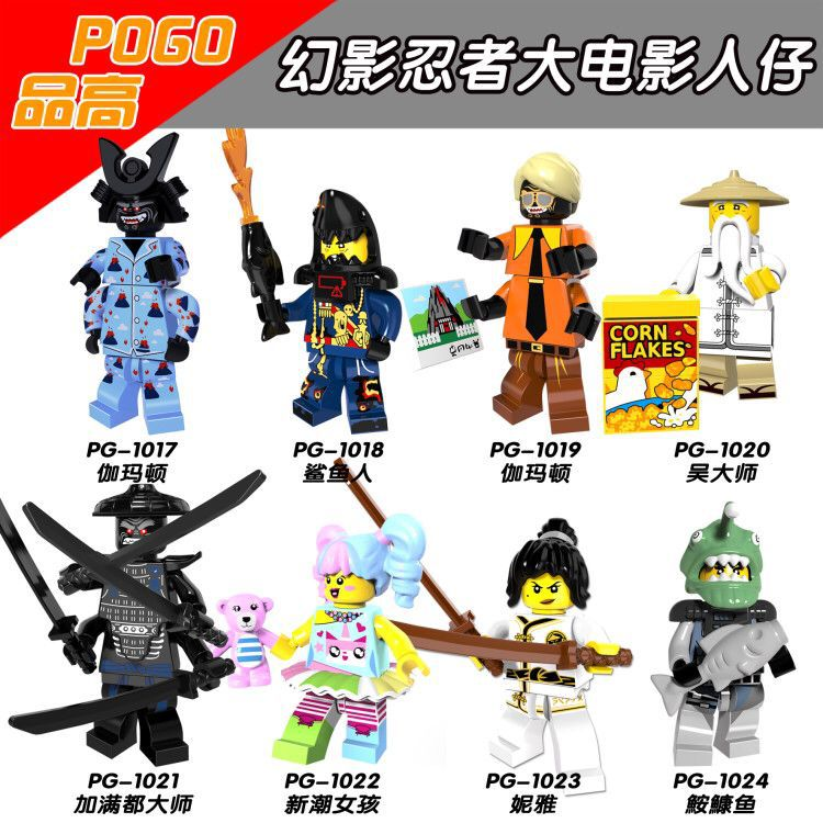8pcs Ninjago Movie Nya Lord Garmadon Flashback Master Wu Shark Army Angler Great White N-POP Girl Compatible With Lego Mini Man
