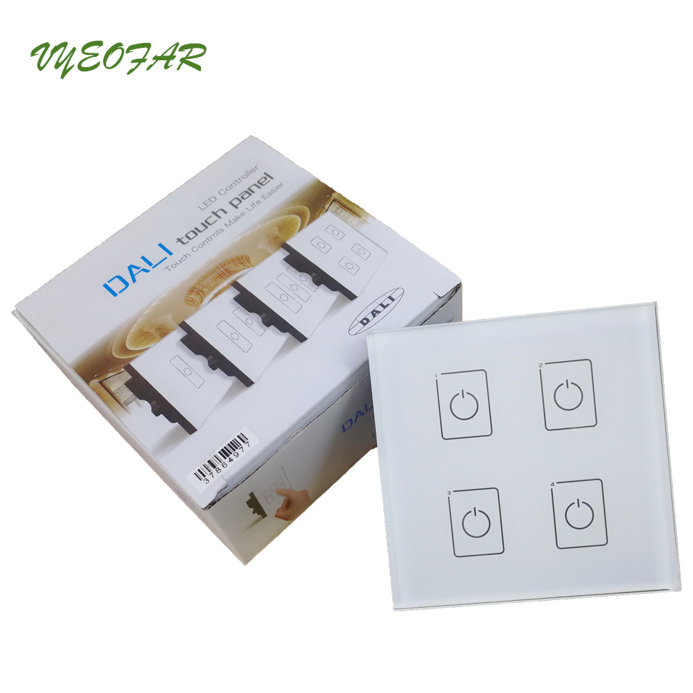 LTECH DA4 Wall Mount Touch Panel 4CH 4 Channel Control On/Off Switch Dimmer LED Controller DALI CV Driver for LED Light ltech da6 wall mount knob panel dali dimmer controller on off switch 64 single address 16 group address and broadcast address