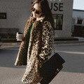 New Women Faux Fur Coat Fashion Sexy Leopard Coat Jacket Woman Winter Long Trench Coat  DX301