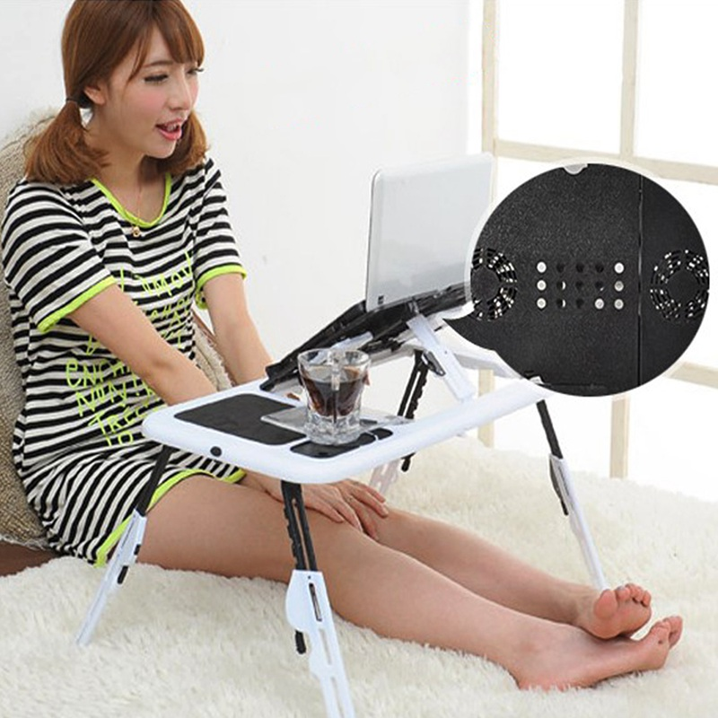 Portable Laptop Desk Bed Sofa Stand New Lapdesk Adjustable Folding Laptop Table E-Table With Tray Cooling Fans Stand Home
