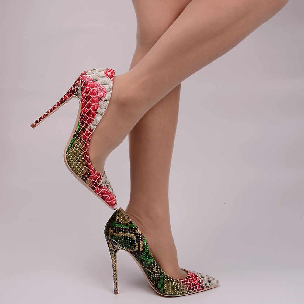 Veowalk נחש מודפס עור נשים סקסי ירוק ואדום גבוהה עקבים 12/10/8CM פגיון בוהן מחודדת להחליק על משאבות נעלי מפלגה