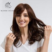 Блонд, единорог, 22 дюйма, высокая плотность, температура, длинные волнистые парики с боковой челкой, коричневый, косплей, черный, белый, для женщин, вьющиеся волосы, парики