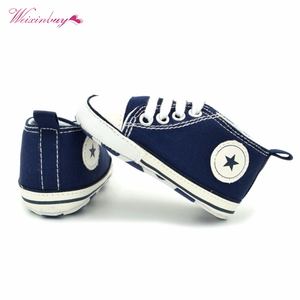 WEIXINBUY Newborn Baby Boys Girls Kanak-kanak Bayi Lace-Up Canvas Nyaman Prewalker Spring Soft Sole Anti-slip Shoes 0-18M