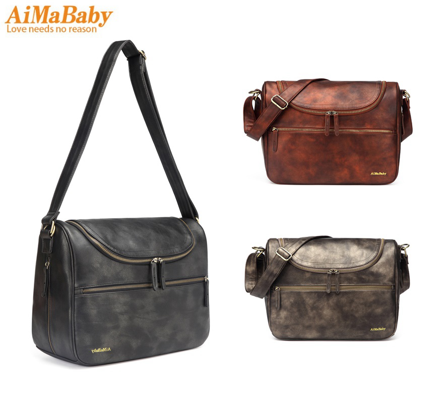 AIMABABY PU Leather baby travel mom mummy daddy Maternity nappy diaper bag messenger Bags Organizer hobos bolsa maternidad aimababy 2017 new pu designer baby diaper nappy changing mummy maternity bag organizer bags for mom backpack bolsa maternidade