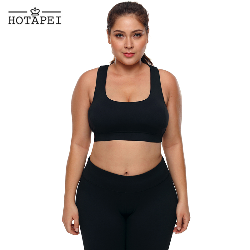 HOTAPEI Women Fitness Yoga Sports Bra Black Plus Size U-shaped Neck Sport Bra LC26040 Push Up Seamless Tank Top Sportswear L-3XL u neck sleeveless tank top high waisted solid color bandage skirt twinset for women