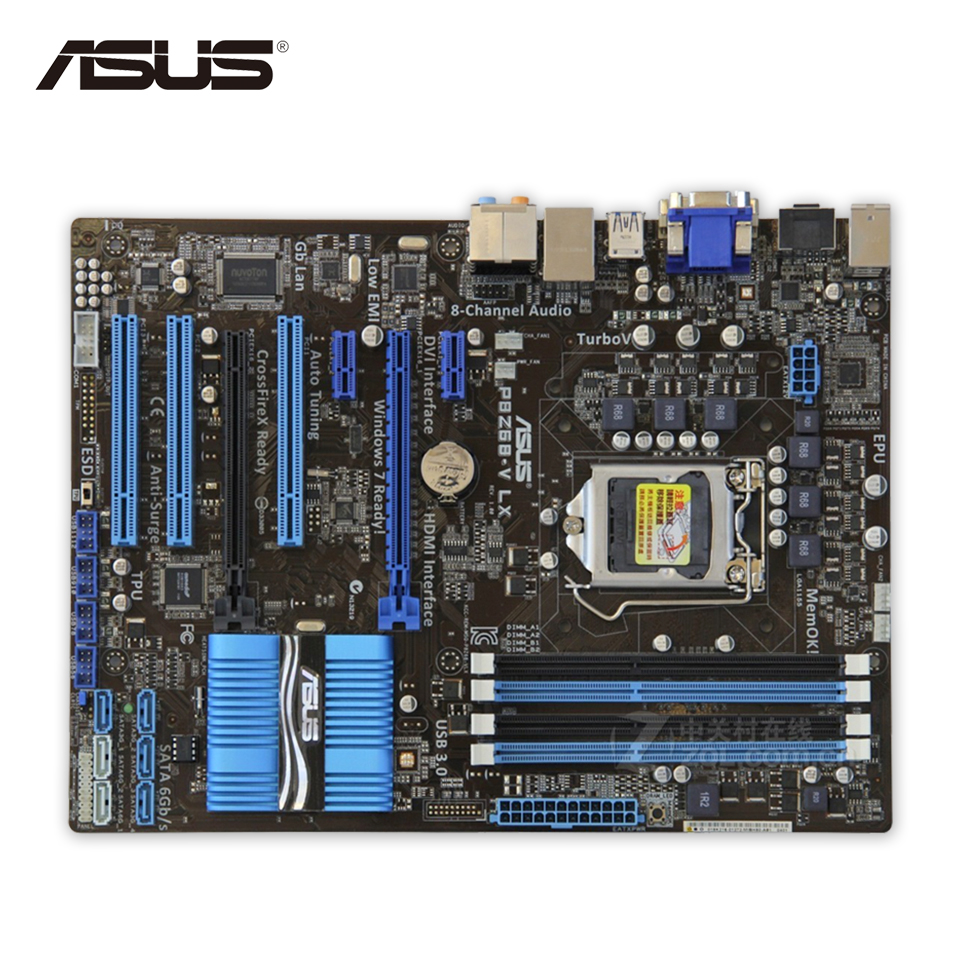 Original Used Asus P8Z68-V LX Desktop Motherboard Z68 Socket LGA 1155 i3 i5 i7 DDR3 32G SATA3 USB3.0 ATX 100% Fully Test asus p10s v 4l atx