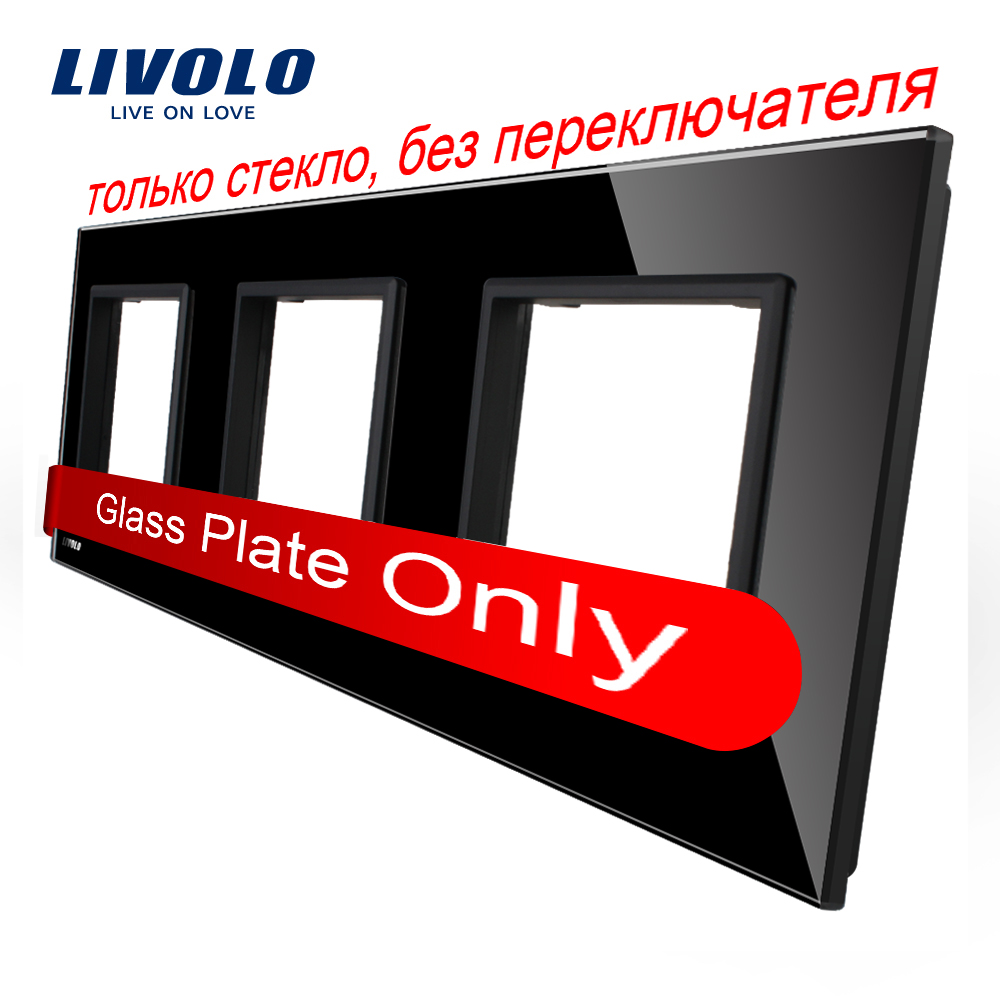 Livolo Luxury Black Pearl Crystal Glass, EU standard, Triple Glass Panel For Wall Touch Switch,VL-C7-SR/SR/SR-12
